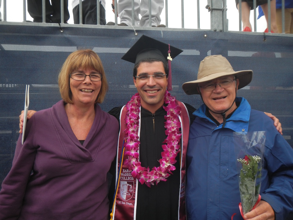 Brett with his parents at UCSD's Warren College Graduation!