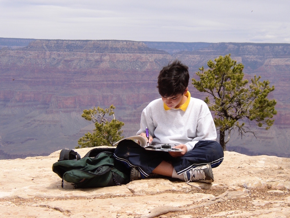 Brett at the Grand Canyon working on an earth sciences paper.