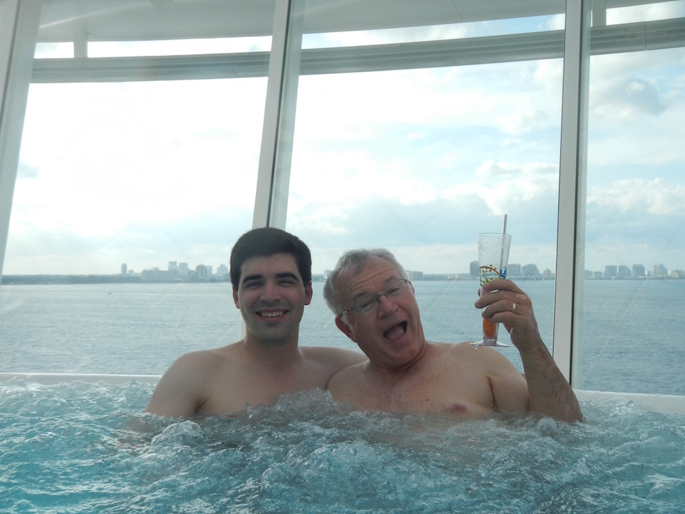 Brett with his father at the beginning of a Caribbean cruise!