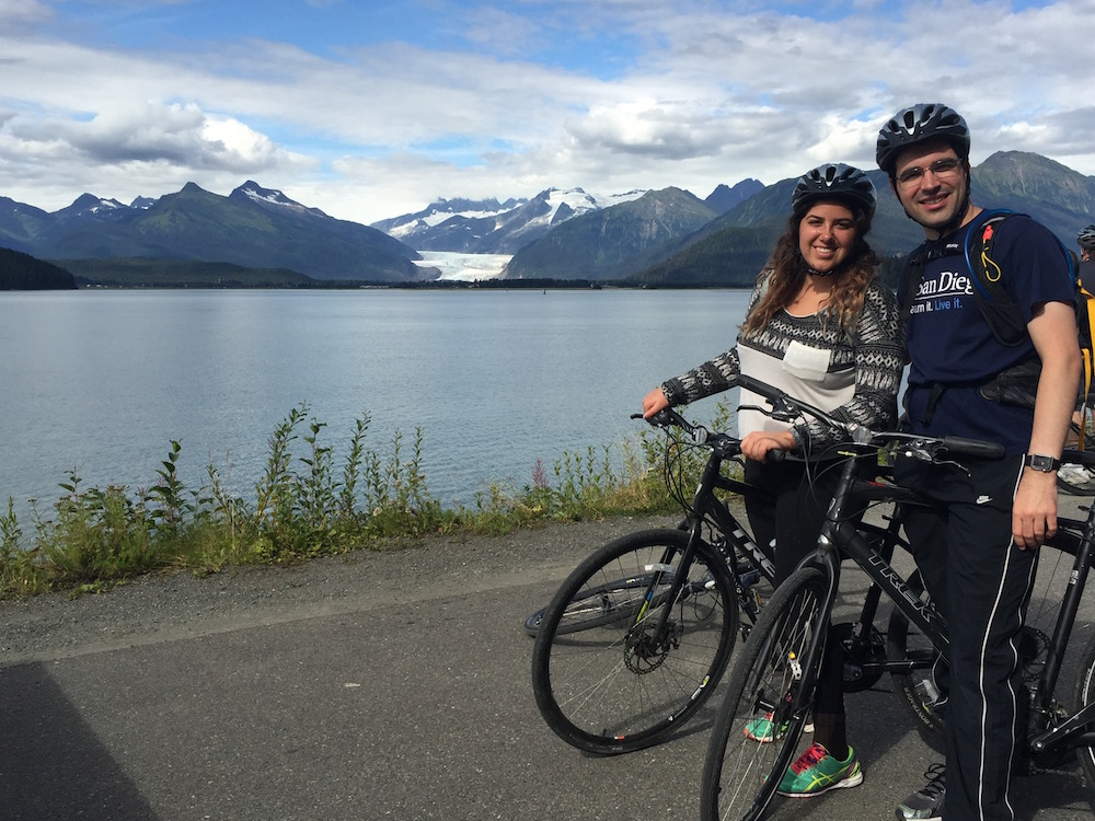 Brett and Christine in front of the Mendenhall Glacier in Juneau, AK!